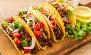 Taco Tuesday, Tacos on wood board, Mexican food